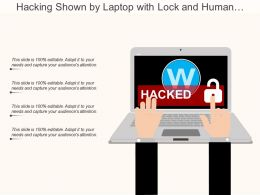 Hacking Shown By Laptop With Lock And Human Hands Working
