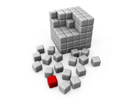 Half Build Cube With One Red Cube In Side Showing Leadership Concept Stock Photo