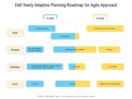 Half Yearly Adaptive Planning Roadmap For Agile Approach