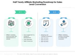 Half Yearly Affiliate Marketing Roadmap For Sales Lead Conversion