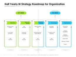 Half Yearly BI Strategy Roadmap For Organization