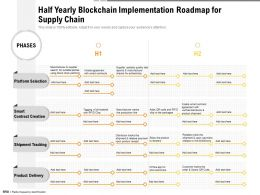Half Yearly Blockchain Implementation Roadmap For Supply Chain
