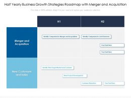 Half Yearly Business Growth Strategies Roadmap With Merger And Acquisition