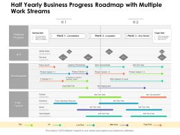 Half Yearly Business Progress Roadmap With Multiple Work Streams