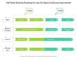 Half Yearly Business Roadmap For Lean Six Sigma Continuous Improvement