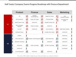 Half Yearly Company Teams Progress Roadmap With Finance Department