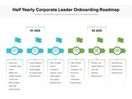 Half Yearly Corporate Leader Onboarding Roadmap