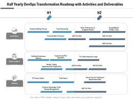 Half Yearly Devops Transformation Roadmap With Activities And Deliverables