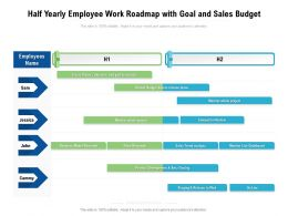 Half Yearly Employee Work Roadmap With Goal And Sales Budget