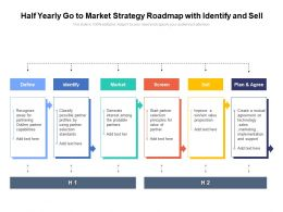 Half Yearly Go To Market Strategy Roadmap With Identify And Sell