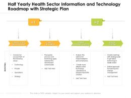 Half Yearly Health Sector Information And Technology Roadmap With Strategic Plan