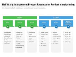 Half Yearly Improvement Process Roadmap For Product Manufacturing