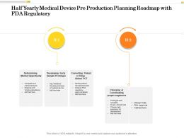 Half Yearly Medical Device Pre Production Planning Roadmap With FDA Regulatory