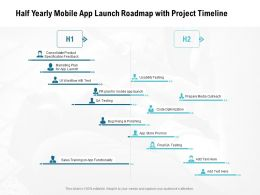 Half Yearly Mobile App Launch Roadmap With Project Timeline