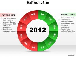 half yearly plan shown by pie chart split up powerpoint diagram templates graphics 712