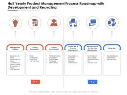 Half Yearly Product Management Process Roadmap With Development And Recycling