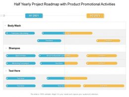 Half Yearly Project Roadmap With Product Promotional Activities