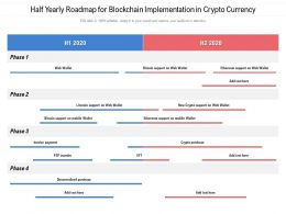 Half Yearly Roadmap For Blockchain Implementation In Crypto Currency