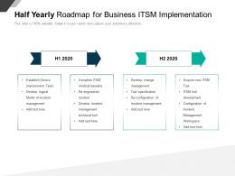 Half Yearly Roadmap For Business ITSM Implementation