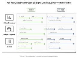 Half Yearly Roadmap For Lean Six Sigma Continuous Improvement Practice