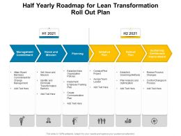 Half Yearly Roadmap For Lean Transformation Roll Out Plan