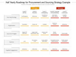 Half Yearly Roadmap For Procurement And Sourcing Strategy Example