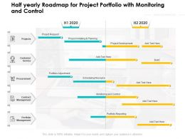 Half Yearly Roadmap For Project Portfolio With Monitoring And Control