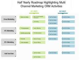 Half Yearly Roadmap Highlighting Multi Channel Marketing CRM Activities