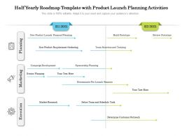 Half Yearly Roadmap Template With Product Launch Planning Activities