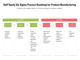 Half Yearly Six Sigma Process Roadmap For Product Manufacturing
