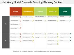 Half Yearly Social Channels Branding Planning Content Marketing Swimlane