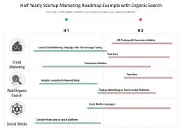 Half Yearly Startup Marketing Roadmap Example With Organic Search