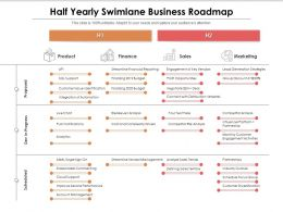 Half Yearly Swimlane Business Roadmap