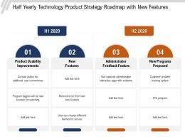 Half Yearly Technology Product Strategy Roadmap With New Features