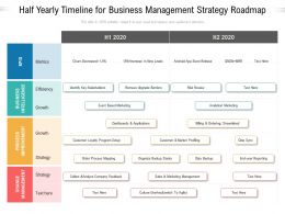 Half Yearly Timeline For Business Management Strategy Roadmap