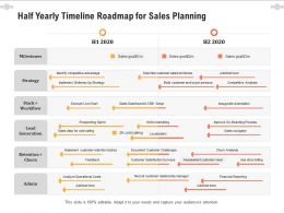 Half Yearly Timeline Roadmap For Sales Planning