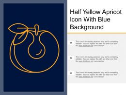 Half Yellow Apricot Icon With Blue Background