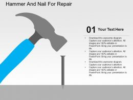 Hammer And Nail For Repair Flat Powerpoint Design