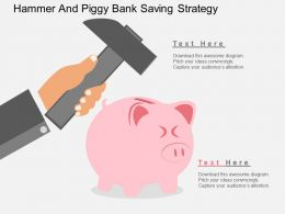 Hammer And Piggy Bank Saving Strategy Flat Powerpoint Design