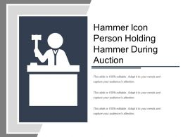 Hammer Icon Person Holding Hammer During Auction