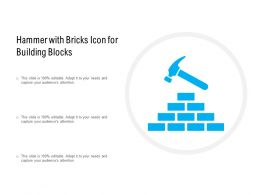 Hammer With Bricks Icon For Building Blocks