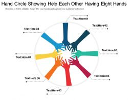 Hand Circle Showing Help Each Other Having Eight Hands
