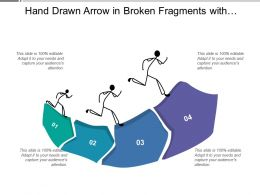 Hand Drawn Arrow In Broken Fragments With Humans On Top