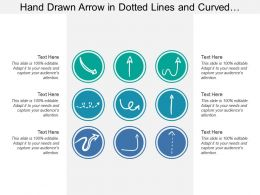 Hand Drawn Arrow In Dotted Lines And Curved Patterns