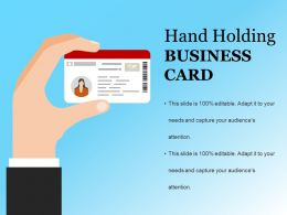 Hand Holding Business Card Example Ppt Presentation