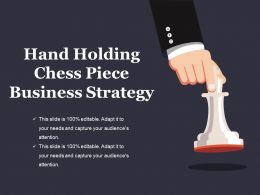 Hand Holding Chess Piece Business Strategy Presentation Slides