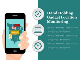 Hand Holding Gadget Location Monitoring Sample Ppt Files