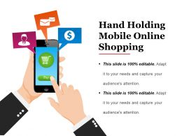 Hand Holding Mobile Online Shopping Presentation Deck
