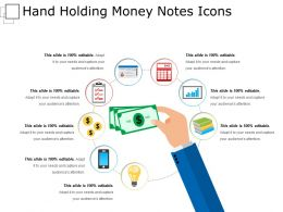 Hand Holding Money Notes Icons Ppt Slides Download