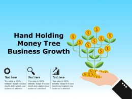 Hand Holding Money Tree Business Growth Ppt Slide Examples